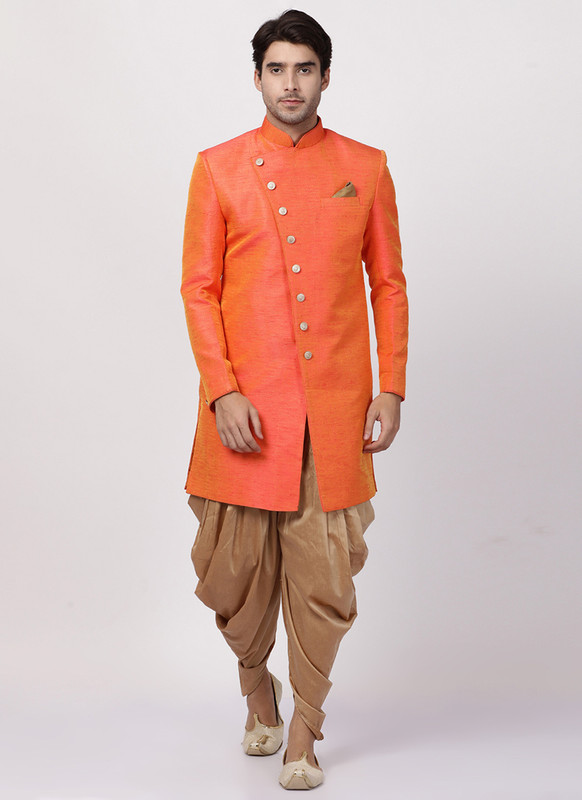 Sareetag Orange  Readymade Designer Sherwani