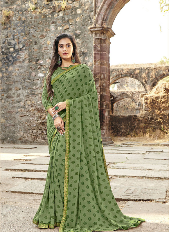 Sareetag Sea Green  Designer Casual Wear Georgette Printed Saree