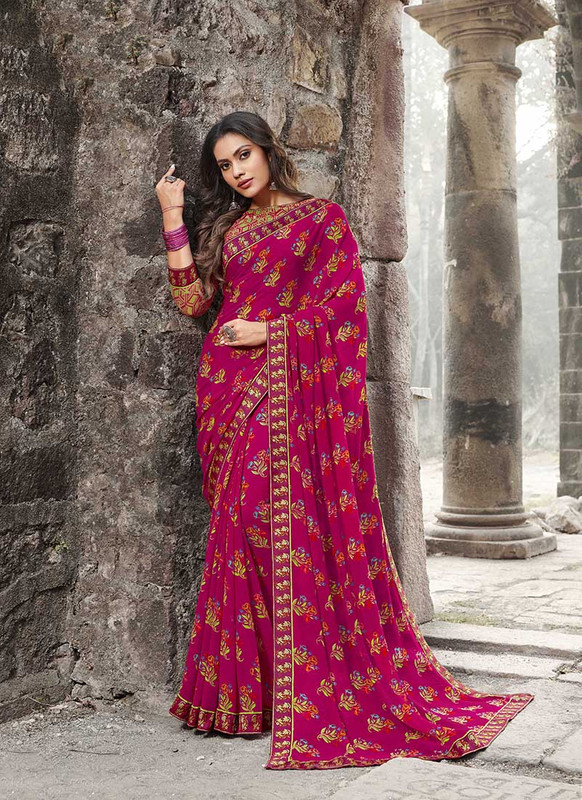 Sareetag Pink  Designer Casual Wear Georgette Printed Saree
