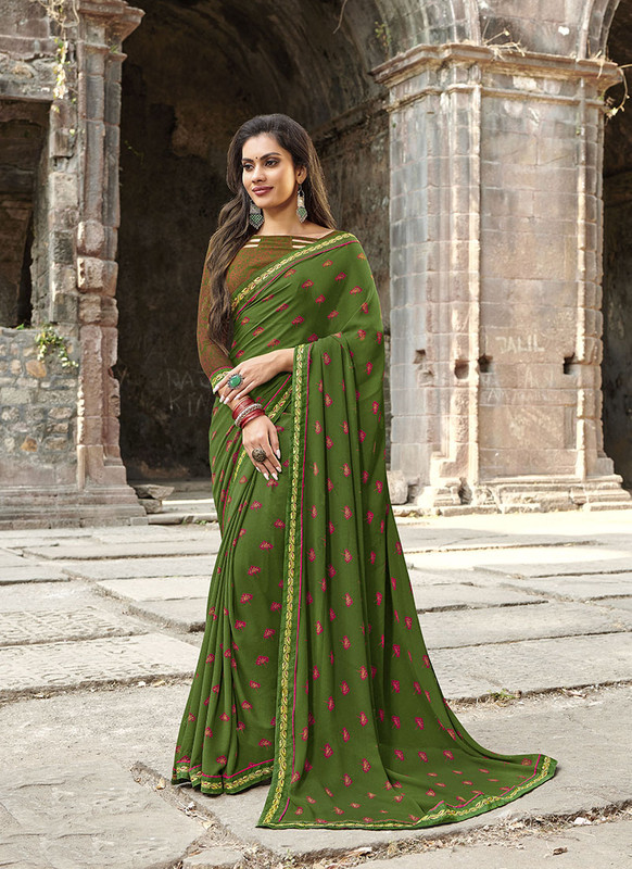 Sareetag Green  Designer Casual Wear Georgette Printed Saree
