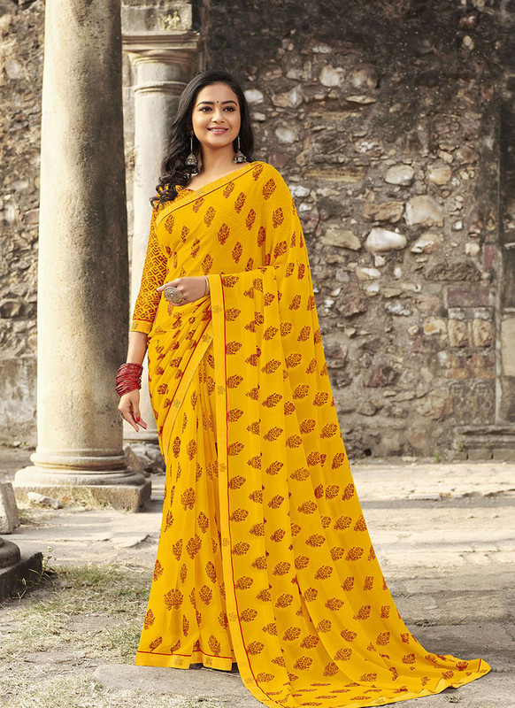 Sareetag Yellow  Designer Casual Wear Georgette Printed Saree