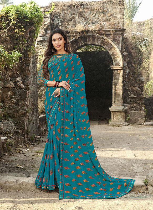 Sareetag Teal Blue  Designer Casual Wear Georgette Printed Saree