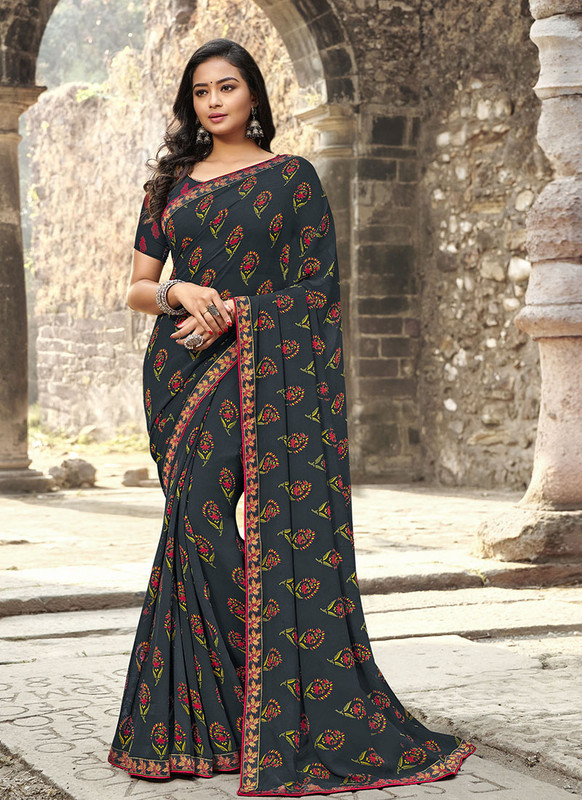 Sareetag Black  Designer Casual Wear Georgette Printed Saree
