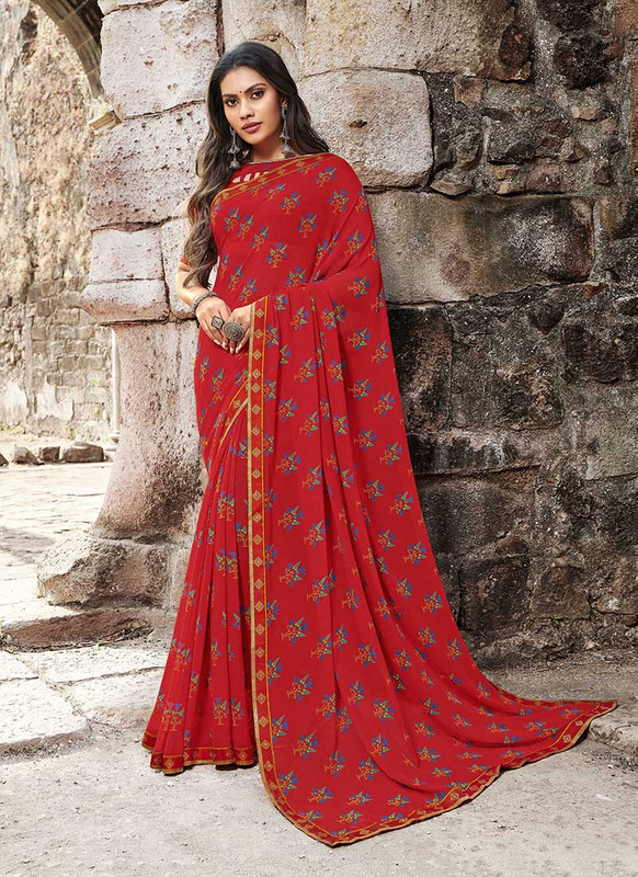 Sareetag Coral  Designer Casual Wear Georgette Printed Saree