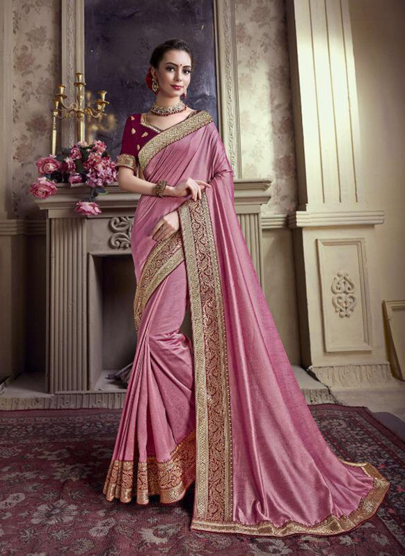 Sareetag Pink  Designer Party Wear Satin Silk Saree