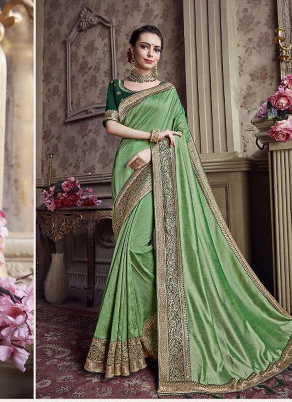 Sareetag Green  Designer Party Wear Satin Silk Saree
