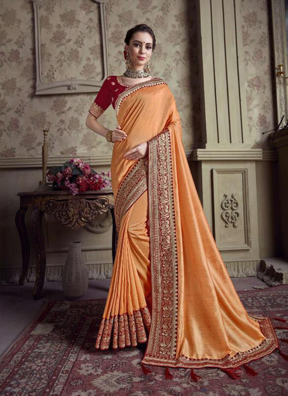 Sareetag Orange  Designer Party Wear Satin Silk Saree