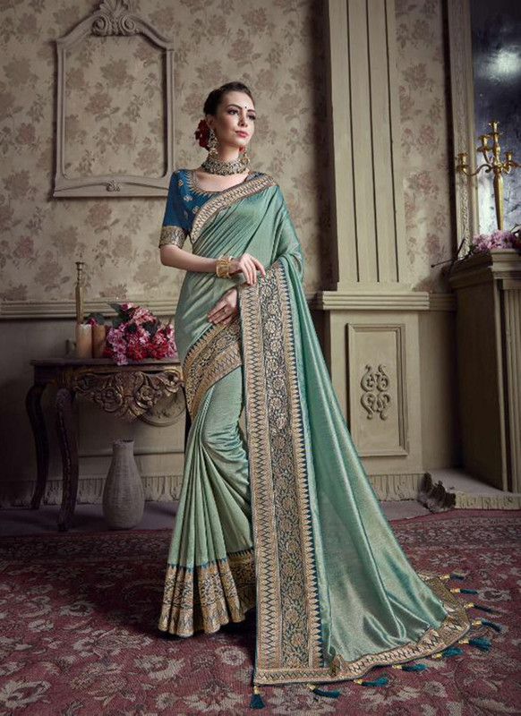 Sareetag Two Tone Blue  Designer Party Wear Satin Silk Saree