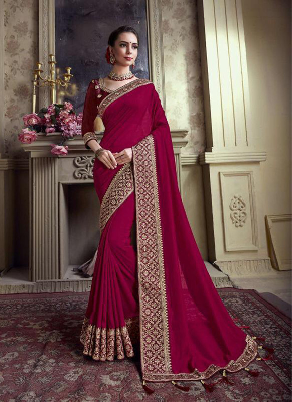Sareetag Violet  Designer Party Wear Satin Silk Saree