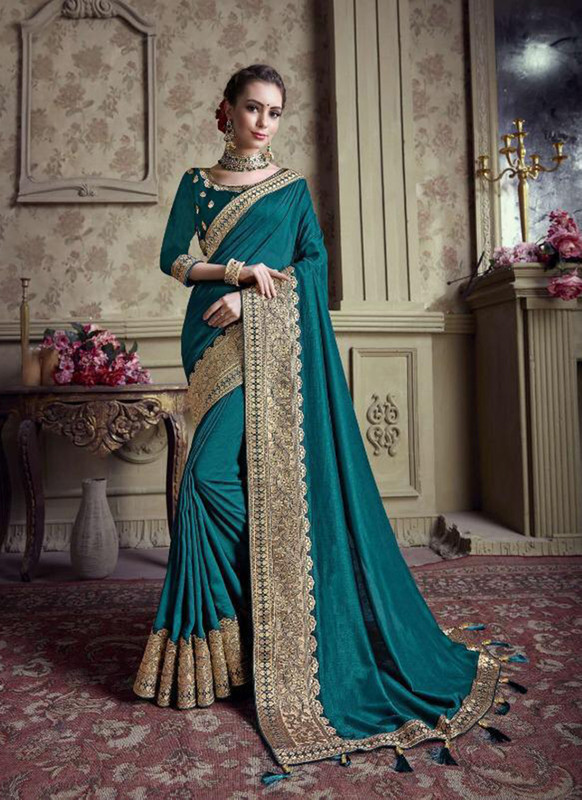 Sareetag Teal Green  Designer Party Wear Satin Silk Saree