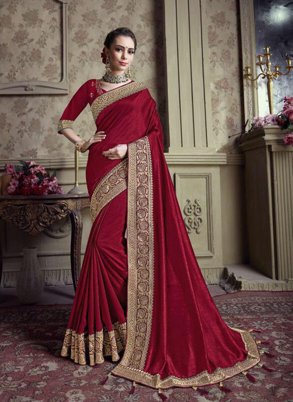 Sareetag Maroon  Designer Party Wear Satin Silk Saree