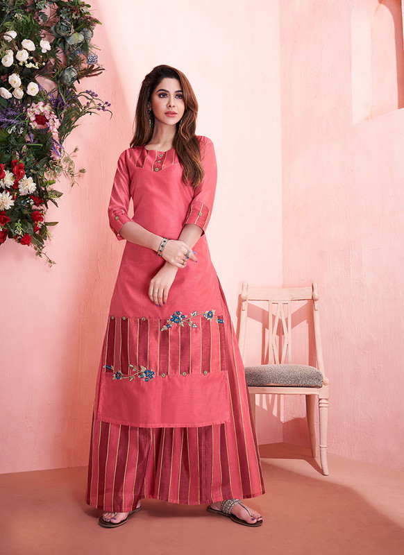 Sareetag Red  Readymade Party Wear Kurti With Bottom