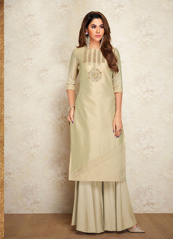 Sareetag Beige  Readymade Party Wear Designer Kurti With Bottom
