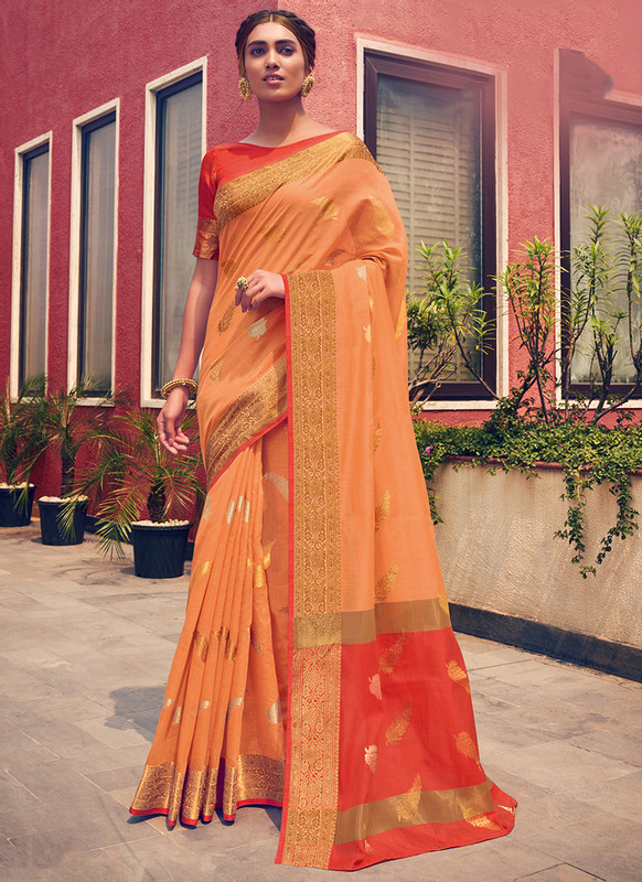 Sareetag Sangam Neem Jari Cotton Beautiful Wedding Saree