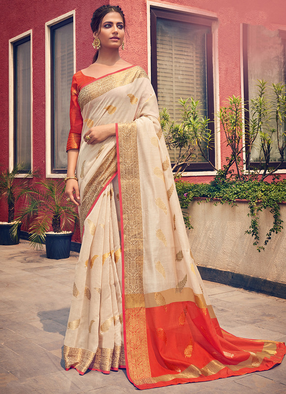 Sareetag Sangam Neem Jari Cotton Attractive Wedding Saree