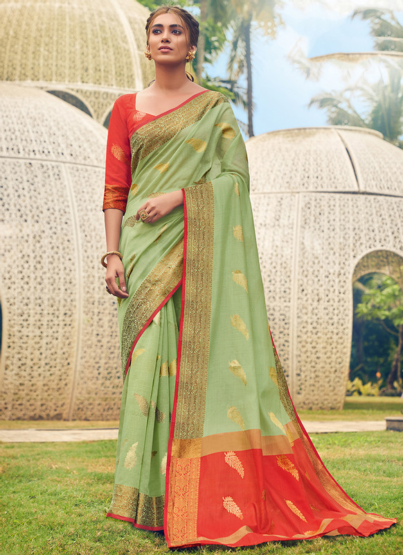 Sareetag Sangam Neem Jari Cotton Pretty Wedding Saree
