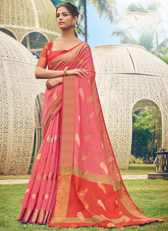 Sareetag Sangam Neem Jari Cotton Graceful Wedding Saree
