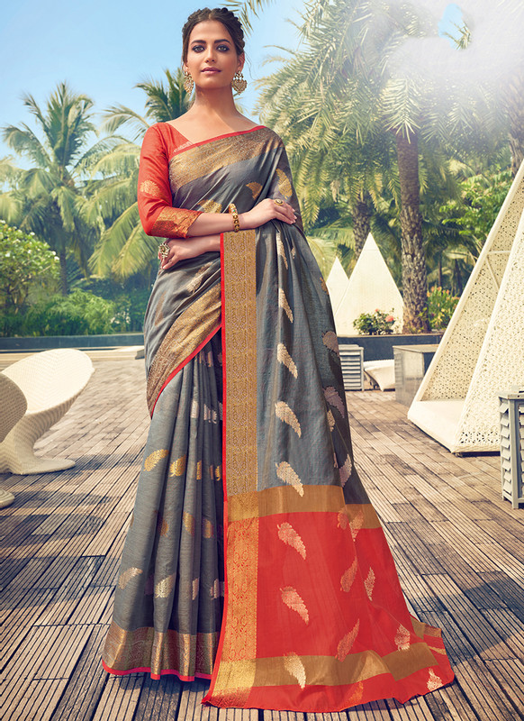 Sareetag Sangam Neem Jari Cotton Elegent Wedding Saree