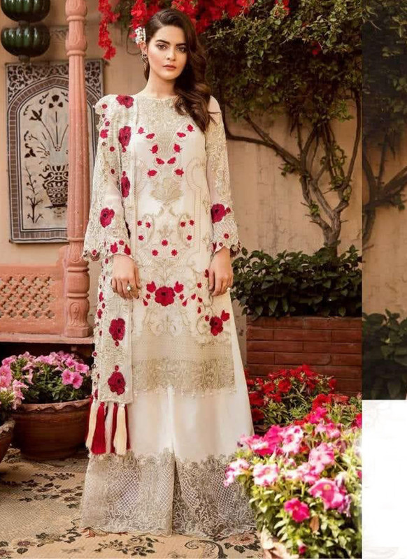 Sareetag Off White Designer Party Wear Pakistani Style Salwar Suit