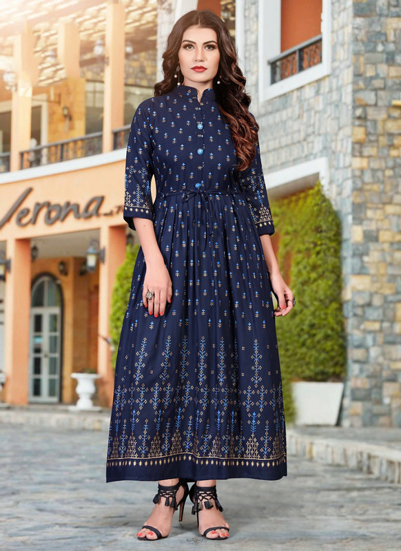 Sareetag Navy Blue Heavy Rayon Casual Wear Foil Printed Work Long Kurti