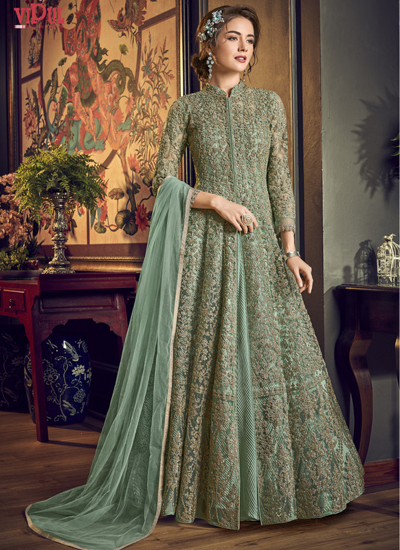 Sareetag Green Vipul Designer Party Wear Gown
