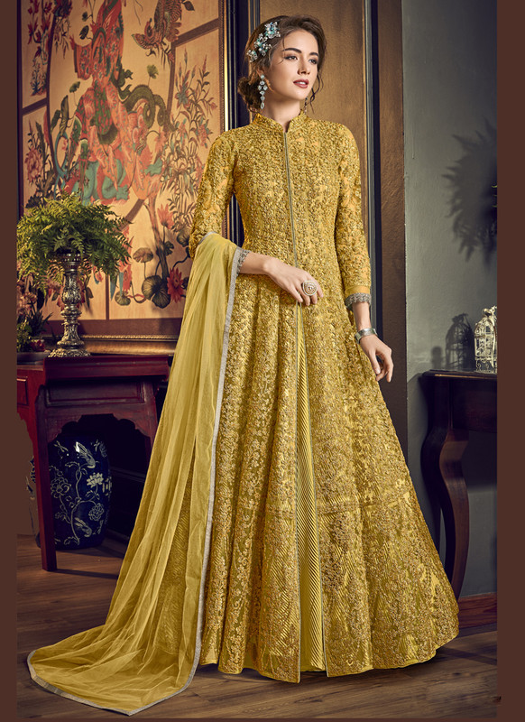 Sareetag Yellow Vipul Designer Party Wear Gown