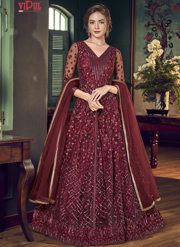 Sareetag Red Vipul Designer Party Wear Gown