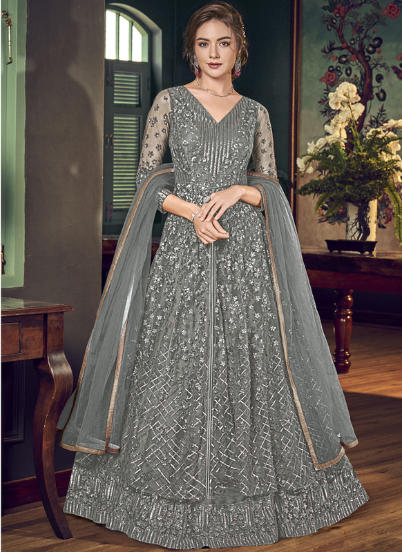 Sareetag Grey Vipul Designer Party Wear Gown