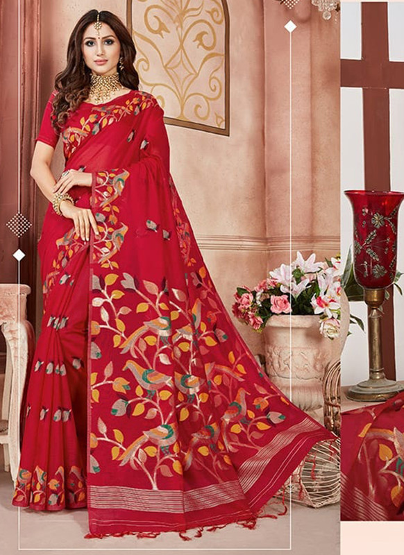 Sareetag Red Designer Linen Silk Casual Wear Saree
