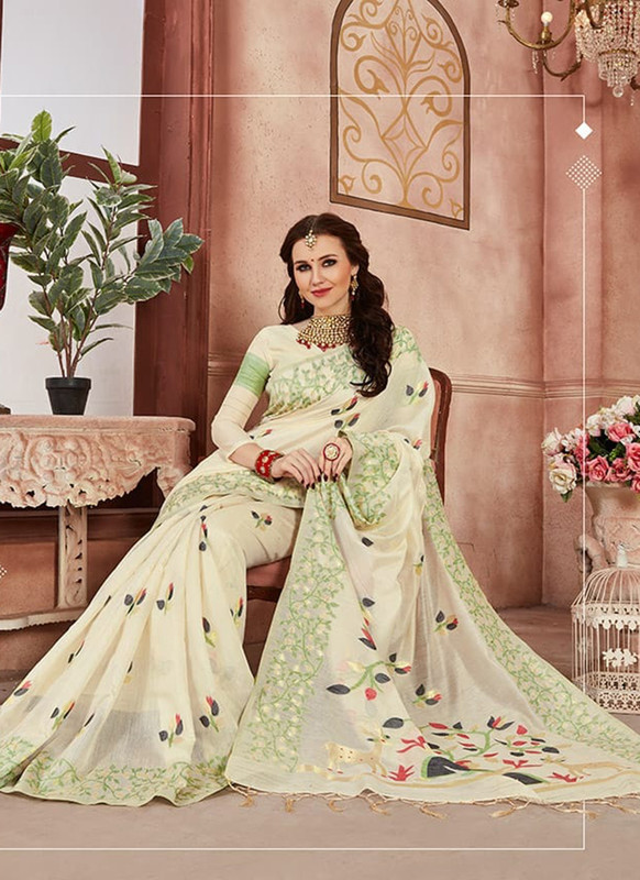 Sareetag Cream Designer Linen Silk Casual Wear Saree
