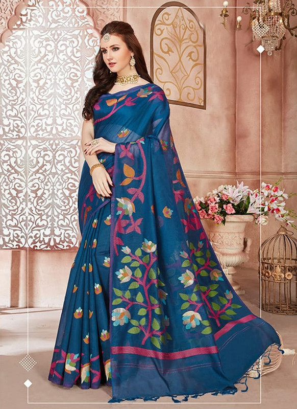 Sareetag Blue Designer Linen Silk Casual Wear Saree