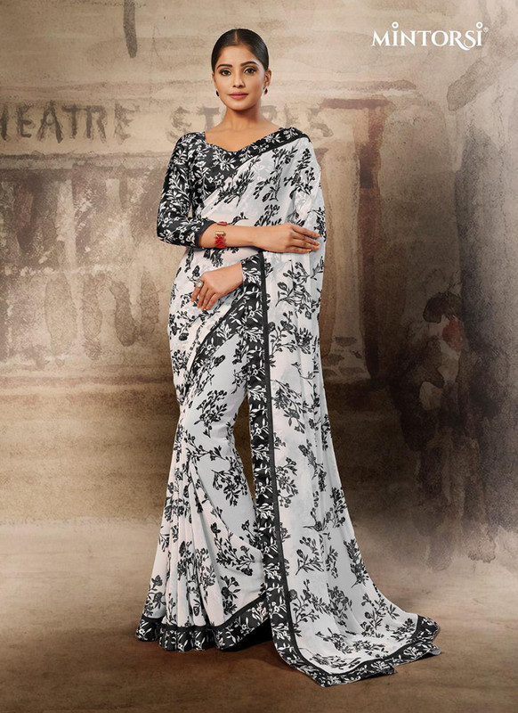 Mintorsi Black and White Petals Design Casual Saree