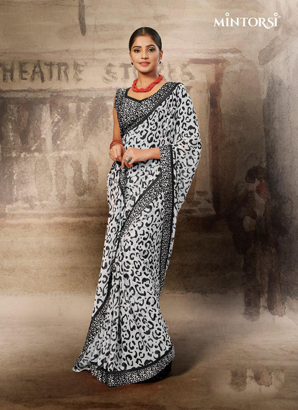 Mintorsi Black and White Leopard Design Casual Saree