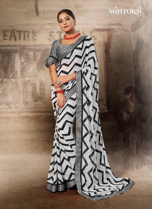 Mintorsi Black and White ZigZag Design Casual Saree