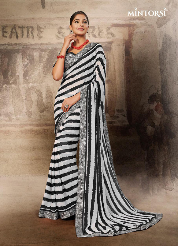 Mintorsi Black White Zebra Design Casual Saree
