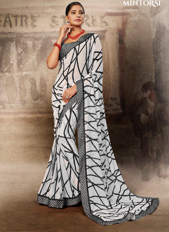Mintorsi Black and White Casual Saree