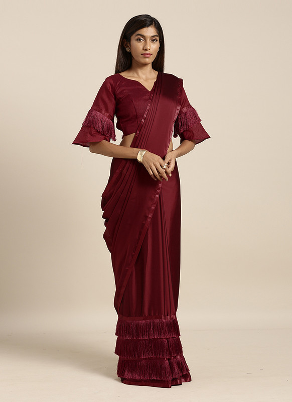 Swaroop Maroon Party Wear Saree