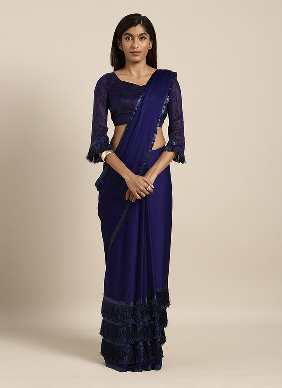 Swaroop Blue Party Wear Saree