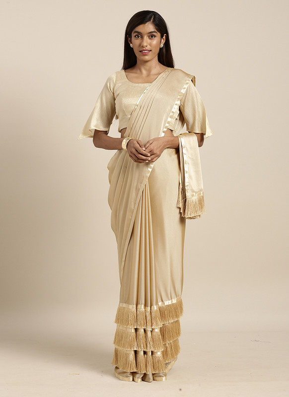 Swaroop Cream Party Wear Saree