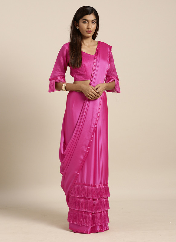 Swaroop Pink Party Wear Saree