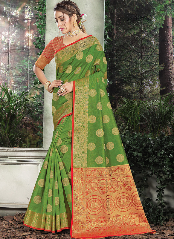 Handloom Silk Saree From Sangam In Green Color