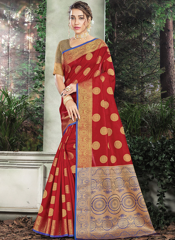 Handloom Silk Saree From Sangam In Maroon Color
