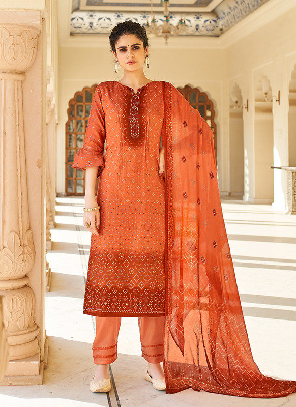 Rust Color Party Wear Salwar Suit