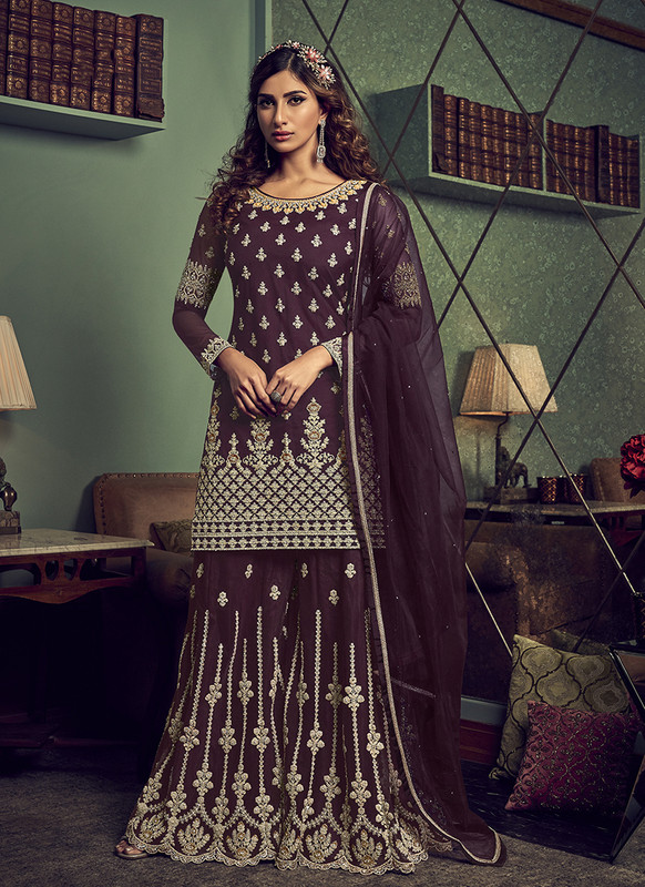 Designer Party Wear Salwar Suit Wine