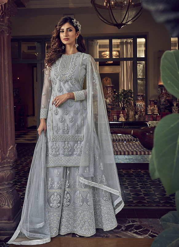 Designer Party Wear Salwar Suit Grey