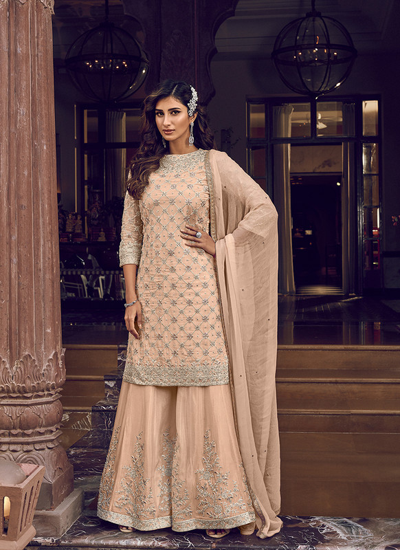 Designer Party Wear Salwar Suit Peach